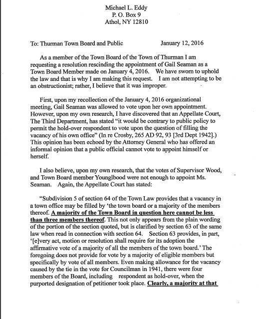 Michael Eddy Letter page 1