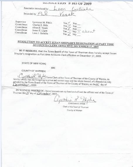 Accounts Clerk Resignation acceptance by board
